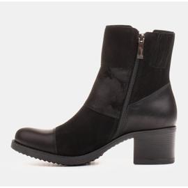 Marco Shoes Komfortowe damskie botki w połączeniu skóry licowej i nubuku czarne 4