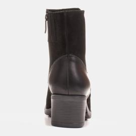 Marco Shoes Komfortowe damskie botki w połączeniu skóry licowej i nubuku czarne 5