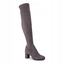 Marco Shoes Wysokie i dopasowane szare kozaki damskie wykonane ze stretchu 1