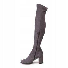 Marco Shoes Wysokie i dopasowane szare kozaki damskie wykonane ze stretchu 2