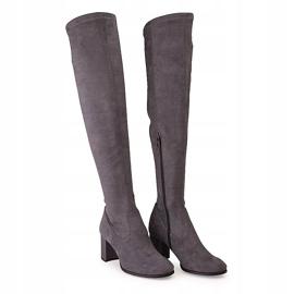 Marco Shoes Wysokie i dopasowane szare kozaki damskie wykonane ze stretchu 3
