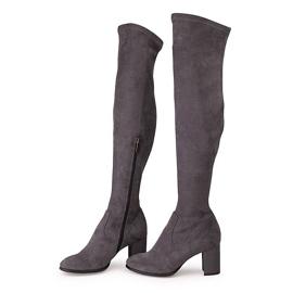 Marco Shoes Wysokie i dopasowane szare kozaki damskie wykonane ze stretchu 4