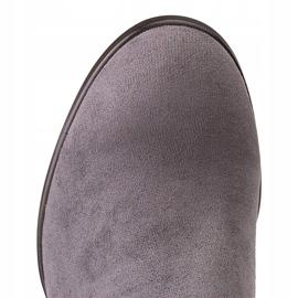 Marco Shoes Wysokie i dopasowane szare kozaki damskie wykonane ze stretchu 6