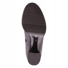 Marco Shoes Wysokie i dopasowane szare kozaki damskie wykonane ze stretchu 7