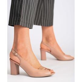 Różowe sandały Marco Shoes 1177P ze złotem 1