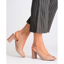 Różowe sandały Marco Shoes 1177P ze złotem 2