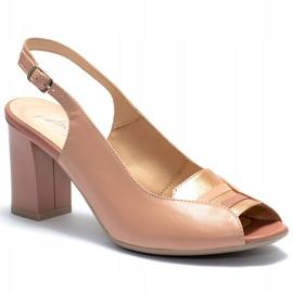 Różowe sandały Marco Shoes 1177P ze złotem 3