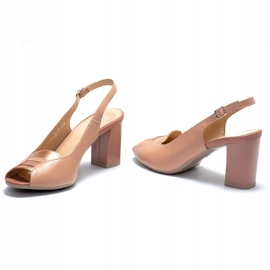 Różowe sandały Marco Shoes 1177P ze złotem 5