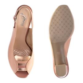 Różowe sandały Marco Shoes 1177P ze złotem 4