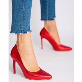 Marco Shoes Czerwone szpilki ze skóry naturalnej na wysokim obcasie 4