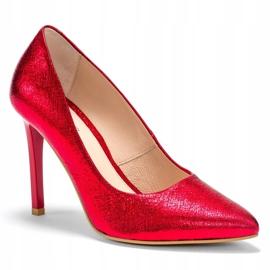 Marco Shoes Czerwone szpilki ze skóry naturalnej na wysokim obcasie 3