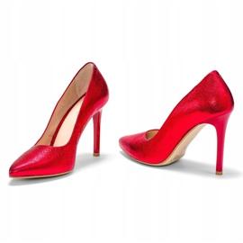 Marco Shoes Czerwone szpilki ze skóry naturalnej na wysokim obcasie 2