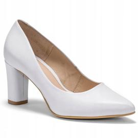 Marco Shoes Czółenka białe klasyczne ze skóry 4