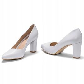 Marco Shoes Czółenka białe klasyczne ze skóry 3