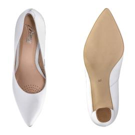 Marco Shoes Czółenka białe klasyczne ze skóry 5