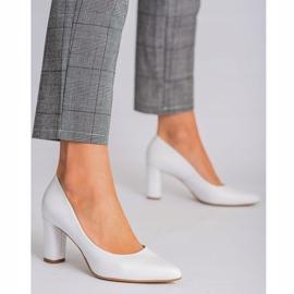 Marco Shoes Czółenka białe klasyczne ze skóry 2