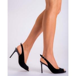 Marco Shoes Czarne sandały welurowe 1188P na szpilce 6