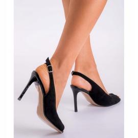 Marco Shoes Czarne sandały welurowe 1188P na szpilce 8