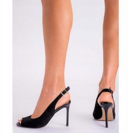 Marco Shoes Czarne sandały welurowe 1188P na szpilce 9