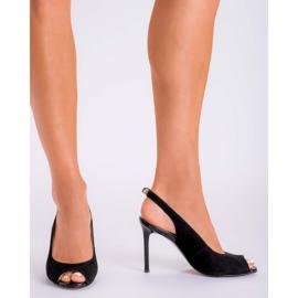 Marco Shoes Czarne sandały welurowe 1188P na szpilce 1