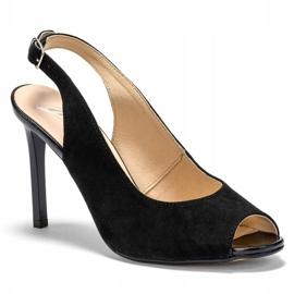 Marco Shoes Czarne sandały welurowe 1188P na szpilce 4