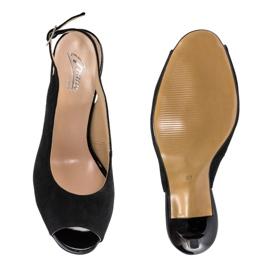 Marco Shoes Czarne sandały welurowe 1188P na szpilce 5