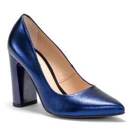Marco Shoes Eleganckie czółenko metaliczny granatowe ze skóry na wyższym obcasie niebieskie 2