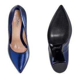 Marco Shoes Eleganckie czółenko metaliczny granatowe ze skóry na wyższym obcasie niebieskie 1