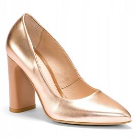 Marco Shoes Eleganckie czółenko metaliczne ze skóry na wyższym obcasie wielokolorowe pomarańczowe 2
