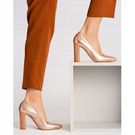 Marco Shoes Eleganckie czółenko metaliczne ze skóry na wyższym obcasie wielokolorowe pomarańczowe 4