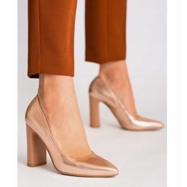Marco Shoes Eleganckie czółenko metaliczne ze skóry na wyższym obcasie wielokolorowe pomarańczowe 5