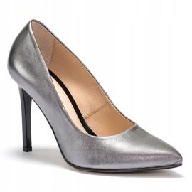 Marco Shoes Szpilki Marco ze skóry naturalnej na obcasie srebrny szare 2
