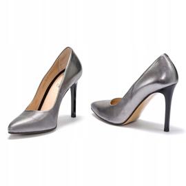 Marco Shoes Szpilki Marco ze skóry naturalnej na obcasie srebrny szare 1