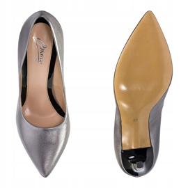 Marco Shoes Szpilki Marco ze skóry naturalnej na obcasie srebrny szare 3