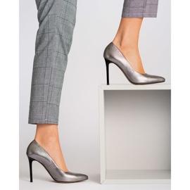 Marco Shoes Szpilki Marco ze skóry naturalnej na obcasie srebrny szare 5