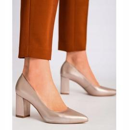 Marco Shoes Platynowe czółenka 1066P z ciekawym obcasem złoty 5