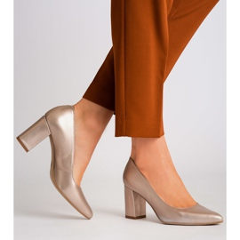Marco Shoes Platynowe czółenka 1066P z ciekawym obcasem złoty 4