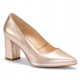 Marco Shoes Platynowe czółenka 1066P z ciekawym obcasem złoty 2