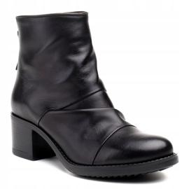 Marco Shoes Botki damskie 1258B Marco z skóry marszczonej czarne 1