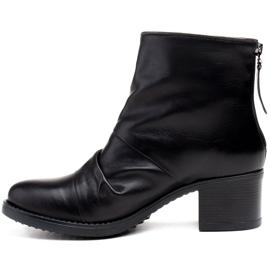 Marco Shoes Botki damskie 1258B Marco z skóry marszczonej czarne 2