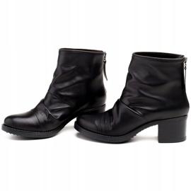Marco Shoes Botki damskie 1258B Marco z skóry marszczonej czarne 3