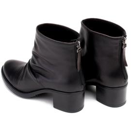Marco Shoes Botki damskie 1258B Marco z skóry marszczonej czarne 7