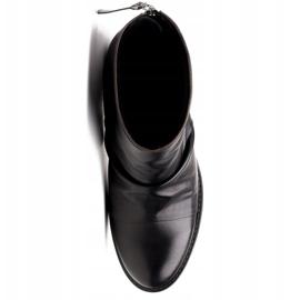 Marco Shoes Botki damskie 1258B Marco z skóry marszczonej czarne 5
