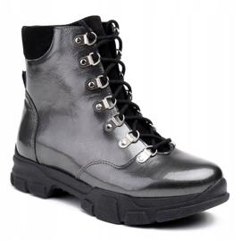 Marco Shoes Sportowe botki 1349B Marco ze skóry szare 1