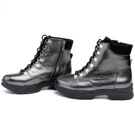 Marco Shoes Sportowe botki 1349B Marco ze skóry szare 3