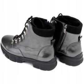 Marco Shoes Sportowe botki 1349B Marco ze skóry szare 7