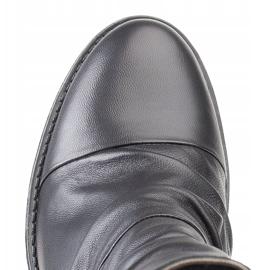 Marco Shoes Wygodne botki z czarnej skóry z marszczeniem 4
