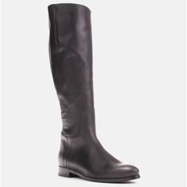 Marco Shoes Gładkie, klasyczne czarne oficerki 1323K na płaskim 1