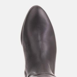Marco Shoes Gładkie, klasyczne czarne oficerki 1323K na płaskim 5