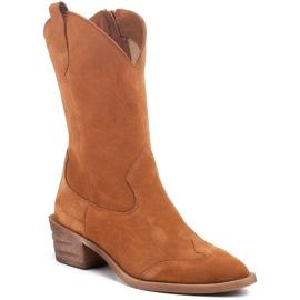 Marco Shoes Miedziane botki z naturalnego zamszu 1